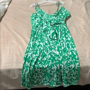 green flowey dress